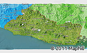 Satellite 3D Map of El Salvador, political shades outside, satellite sea