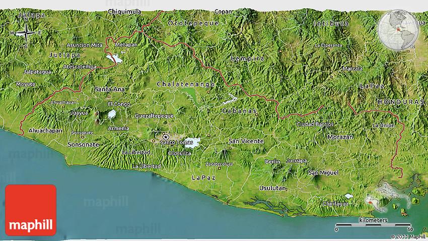 Satellite D Map Of El Salvador - Satellite image photo of el salvador