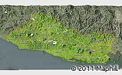 Satellite 3D Map of El Salvador, semi-desaturated