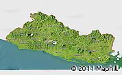 Satellite 3D Map of El Salvador, single color outside