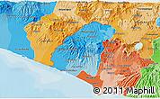 Political Shades 3D Map of Ahuachapan