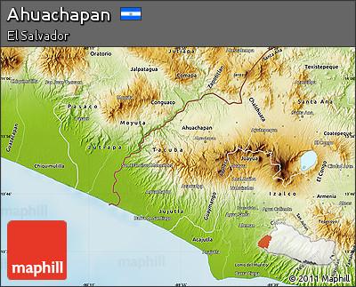 Physical Map of Ahuachapan