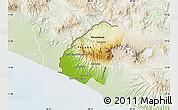 Physical Map of Ahuachapan, lighten