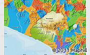 Physical Map of Ahuachapan, political outside