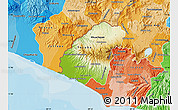 Physical Map of Ahuachapan, political shades outside