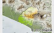Physical Map of Ahuachapan, semi-desaturated