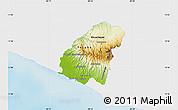 Physical Map of Ahuachapan, single color outside