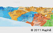 Political Shades Panoramic Map of Ahuachapan