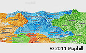 Political Shades Panoramic Map of Chalatenango