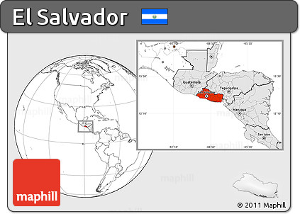 Free Blank Location Map of El Salvador, highlighted continent