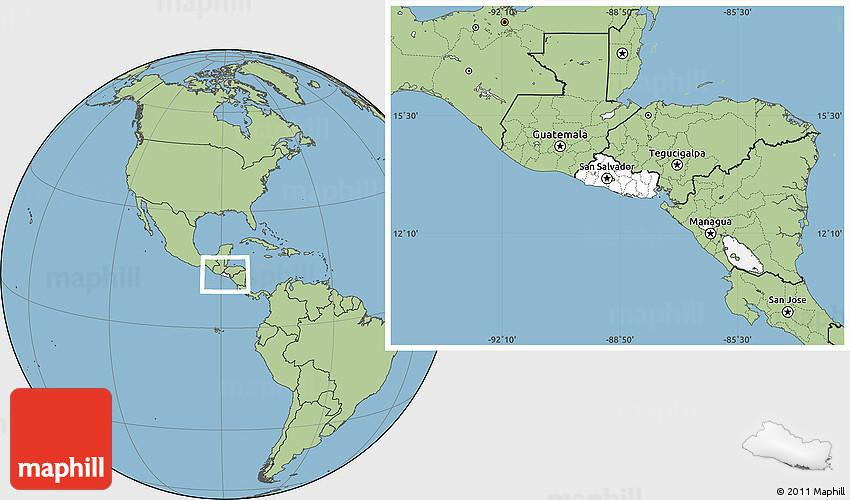 Blank Location Map of El Salvador, savanna style outside