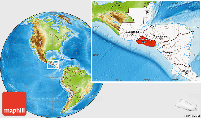 Physical location map of el salvador highlighted continent 2d gumiabroncs Gallery