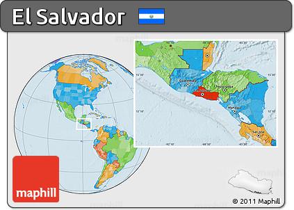 Free Political Location Map of El Salvador
