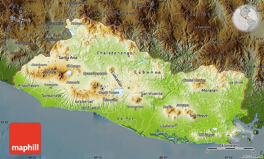 Physical Map of El Salvador darken
