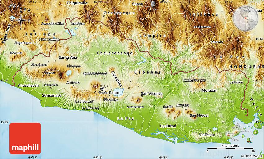 Physical Map of El Salvador