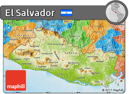 Free Physical Map of El Salvador political outside shaded relief sea