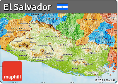 Free Physical Map Of El Salvador Political Outside Shaded Relief Sea - Political map el salvador