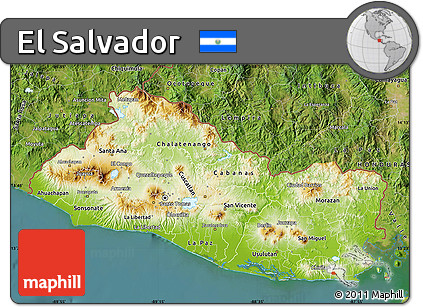 Free Physical Map of El Salvador satellite outside
