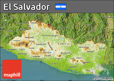 Free Physical Map Of El Salvador Satellite Outside - Satellite image photo of el salvador