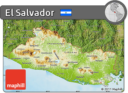Free Physical Map of El Salvador satellite outside shaded relief sea