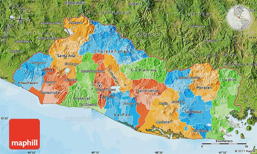 Political Map Of El Salvador Satellite Outside Bathymetry Sea - Satellite image photo of el salvador