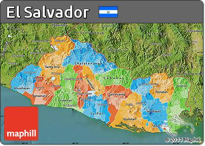 Free Political Map of El Salvador satellite outside