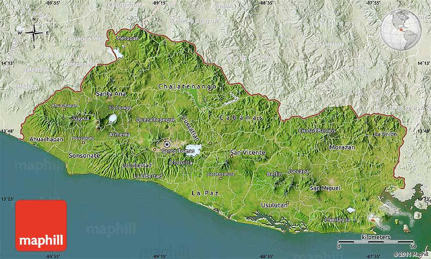 Satellite Map of El Salvador lighten land only