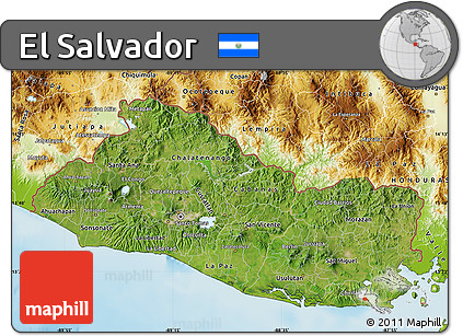 Free Satellite Map of El Salvador physical outside