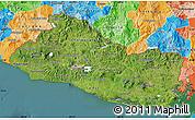 Satellite Map of El Salvador, political outside, satellite sea