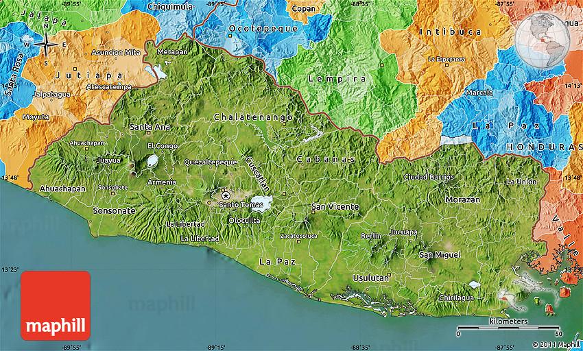 Satellite Map Of El Salvador Political Outside Satellite Sea - Satellite image photo of el salvador