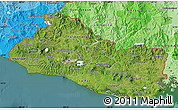 Satellite Map of El Salvador, political shades outside, satellite sea