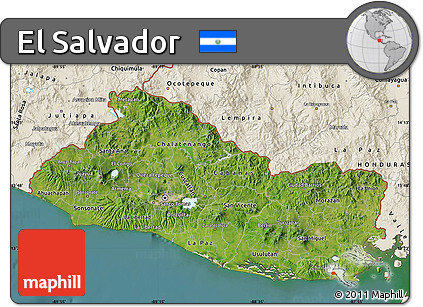 Free Satellite Map Of El Salvador Shaded Relief Outside - Satellite image photo of el salvador