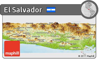 Free Physical Panoramic Map of El Salvador