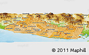 Political Shades Panoramic Map of El Salvador, physical outside