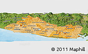 Political Shades Panoramic Map of El Salvador, satellite outside, bathymetry sea