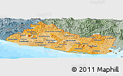 Political Shades Panoramic Map of El Salvador, semi-desaturated, land only