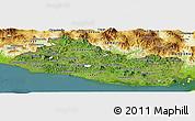 Satellite Panoramic Map of El Salvador, physical outside, satellite sea