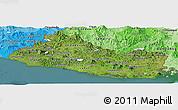 Satellite Panoramic Map of El Salvador, political shades outside, satellite sea
