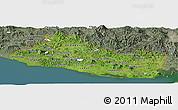 Satellite Panoramic Map of El Salvador, semi-desaturated, land only