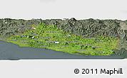 Satellite Panoramic Map of El Salvador, semi-desaturated