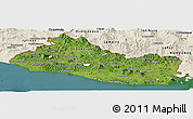 Satellite Panoramic Map of El Salvador, shaded relief outside, satellite sea