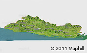 Satellite Panoramic Map of El Salvador, single color outside