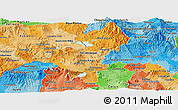 Political Shades Panoramic Map of Santa Ana
