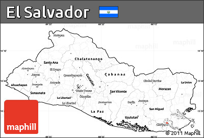 Free Blank Simple Map of El Salvador, cropped outside