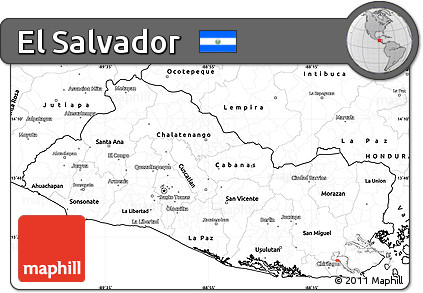 Free Blank Simple Map of El Salvador