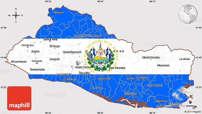 Flag Simple Map of El Salvador, flag centered
