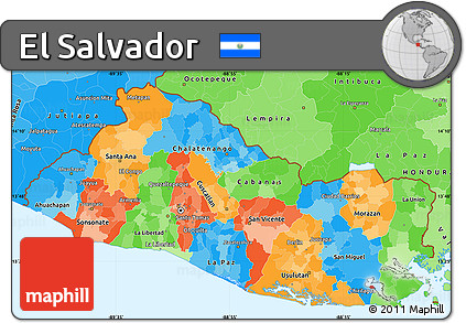 Free Political Simple Map Of El Salvador Political Shades Outside