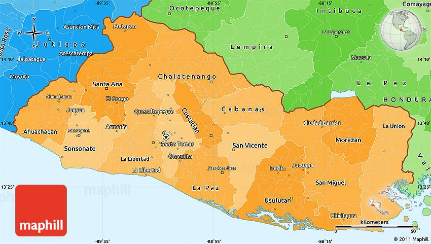 political shades simple map of el salvador