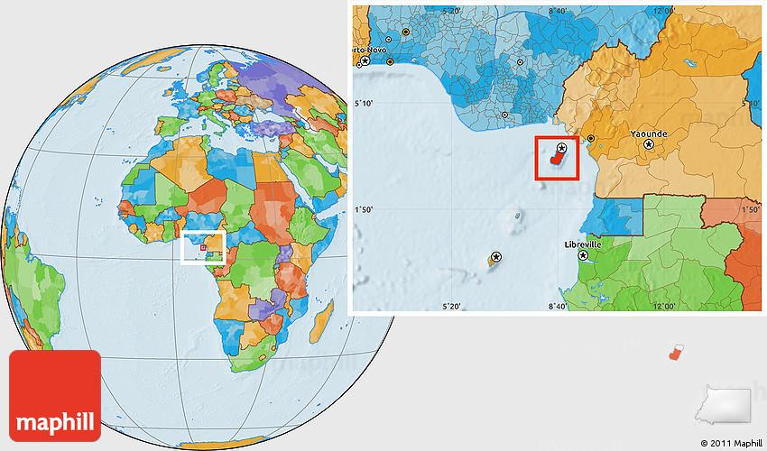 Political Location Map of Bioko Sur