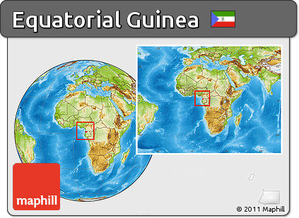 Physical Location Map of Equatorial Guinea, within the entire continent